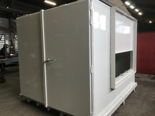 Radiation Protection Cabinet - 2.5m x 2.5m one-piece; 10mm lead, double door.