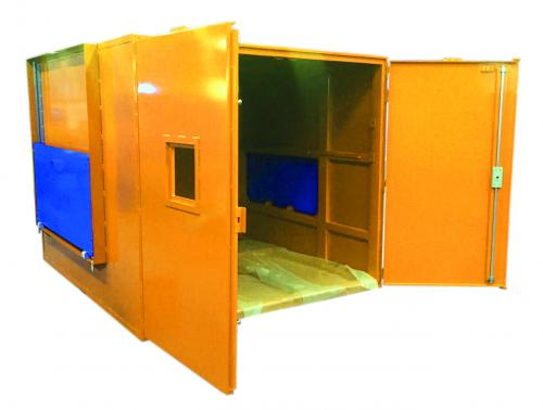 Tyre industry - Leaded cabin with automatic side doors and hatches.
