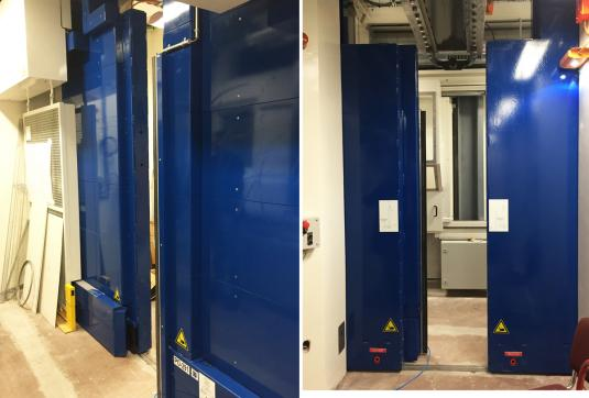 CERN - Geneva - Switzerland - Motorised door with 2 leaves of 100 mm lead. Height 3.2 m; Weight 2 x 7 tons.