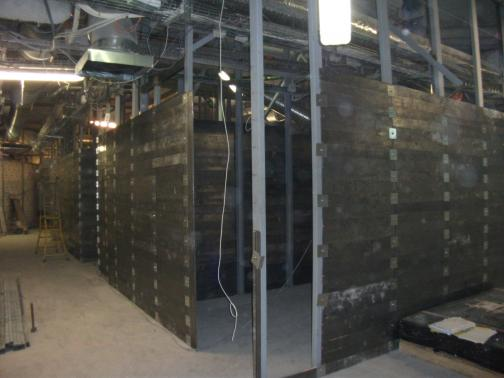 Lead plate, rafter and brick partitions for the nuclear medicine department.