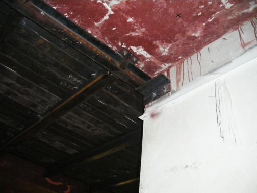 Steel ceiling.