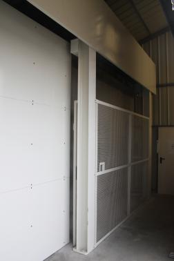 Nordon - Nancy - France - Industrial radiography bunker door. 3,0m x ht 3,0m ; Lead 64mm ; Weight 10t.