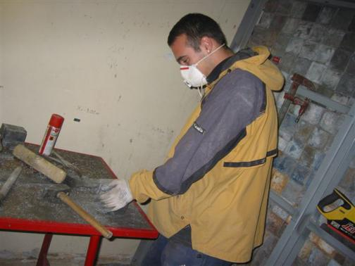 Lead cutting on a construction site.