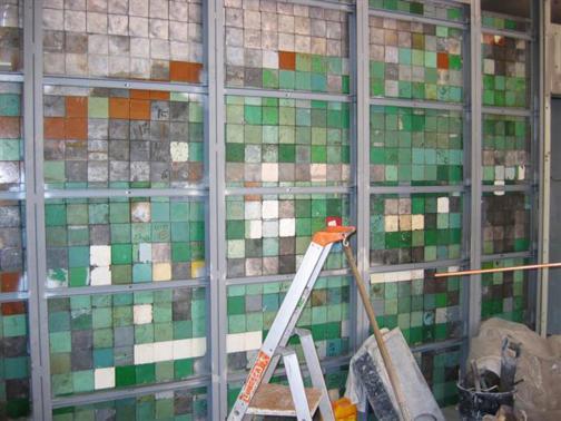 Leaded partitions in herringbone brick.