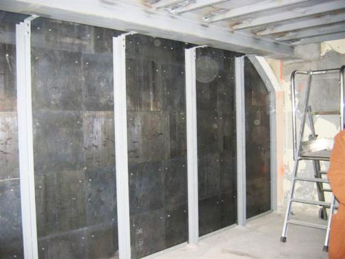Leaded partition with structure.